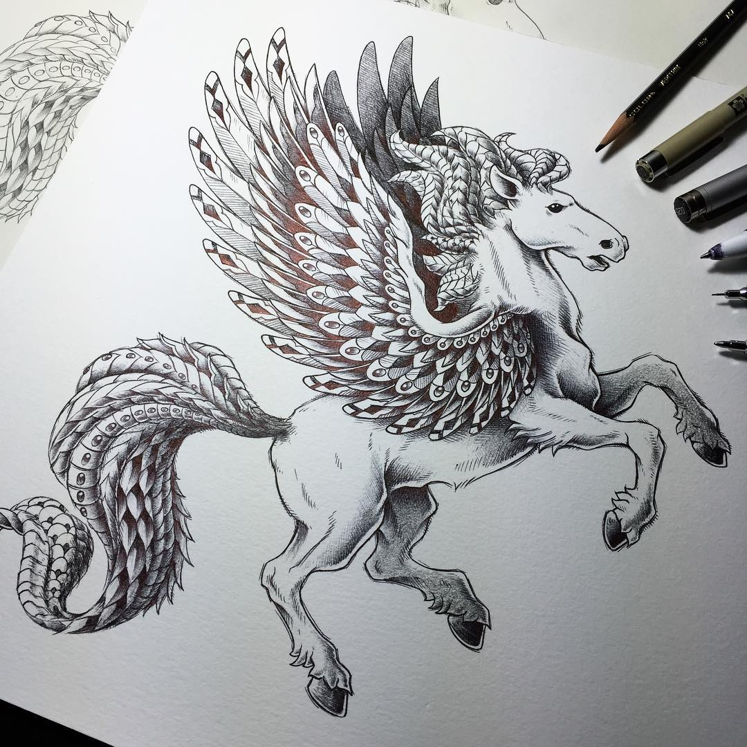 16-Pegasus-Ben-Kwok-Ornate-and-Intricate-Animal-Drawings-www-designstack-co