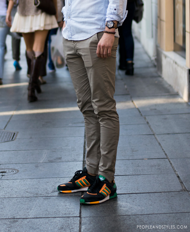 casual man's wear fall 2014, chinos and Adidas sneakers, street style fashion men