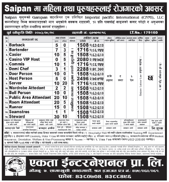 Jobs in Saipan for Nepali, Salary Up to Rs 2,70,915