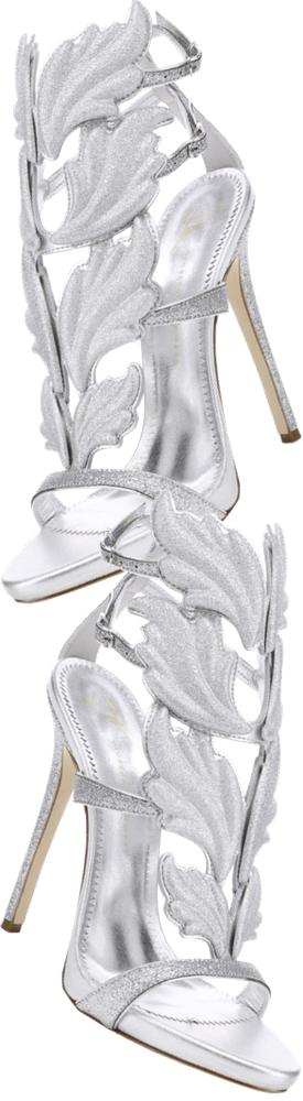 Giuseppe Zanotti Glitter Leaf Strappy Stiletto Sandals