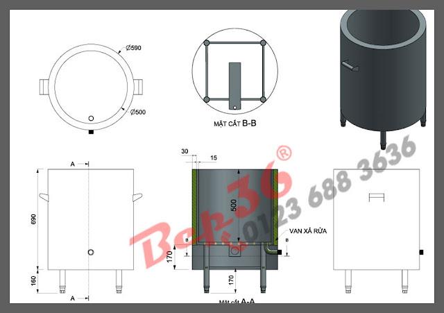 Thiết kế mẫu nồi nấu cháo dầu dẫn nhiệt