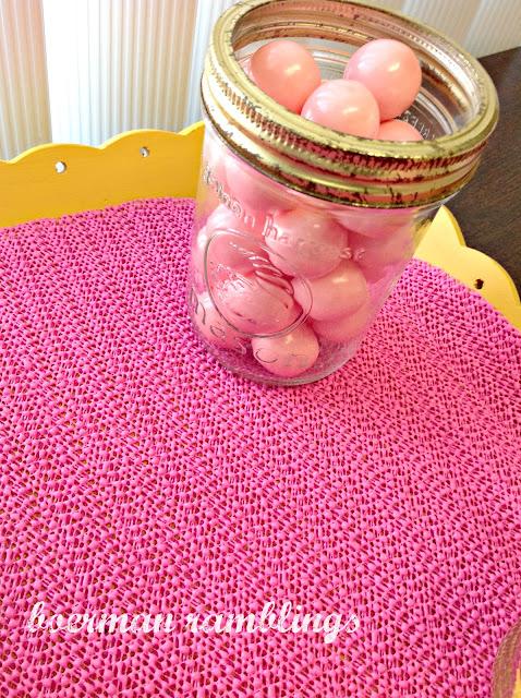 pink gumballs in mason jar