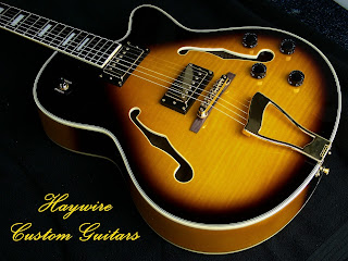 image results for a custom shop hollow body guitar from Haywire Custom Guitars with correct guitar strings