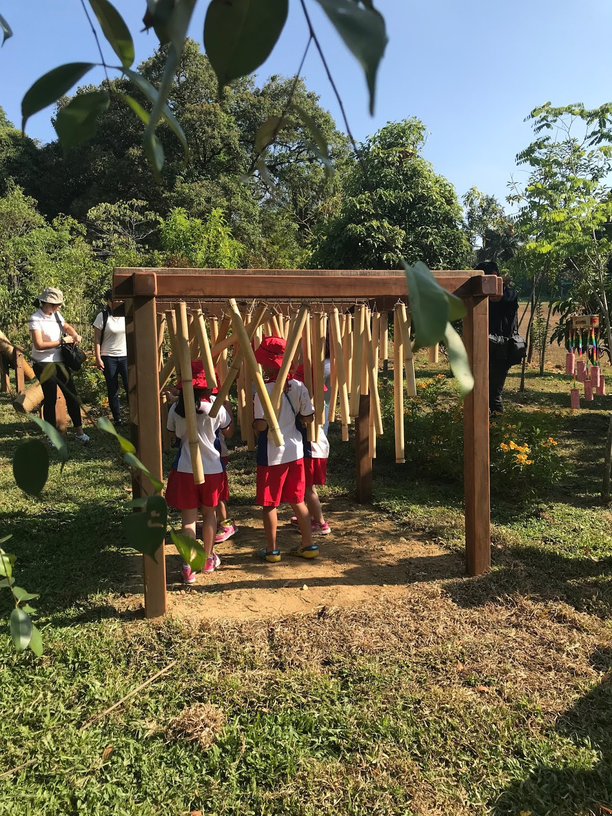 Children can also stimulate their senses by playing with the 'musical instruments' in the playgarden.