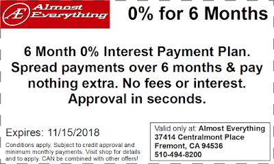 Coupon 6 Month Interest Free Payment Plan October 2018