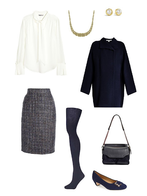A classic Rome outfit in navy and white