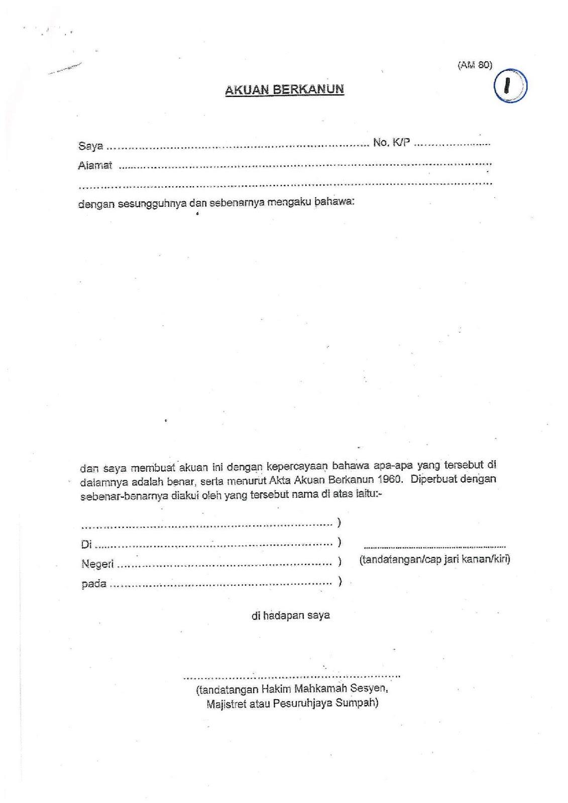 Contoh Surat Akuan Sumpah Kwsp
