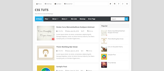 New Minima Colored V2 Responsive Blogger Templates