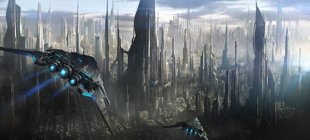 Panorámica de una ciudad de ciencia ficción