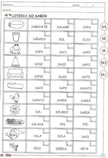 Atividades alfabetização letra S