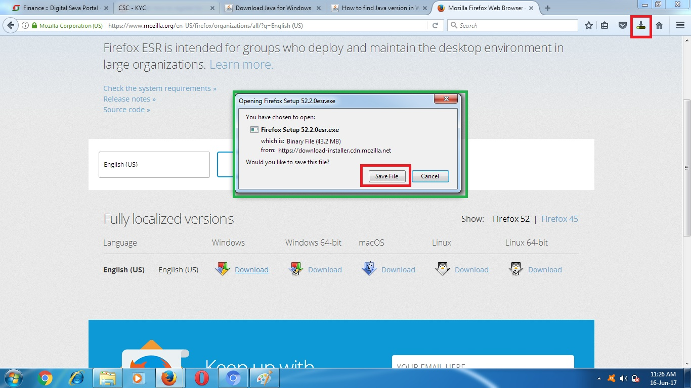 How to install Java Supported Mozilla Firefox ESR 52 2 0 to run