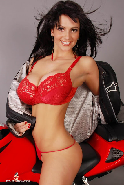 Denise-Milani-Bike-Photoshoot-in-red-hot-bikini-picture-7