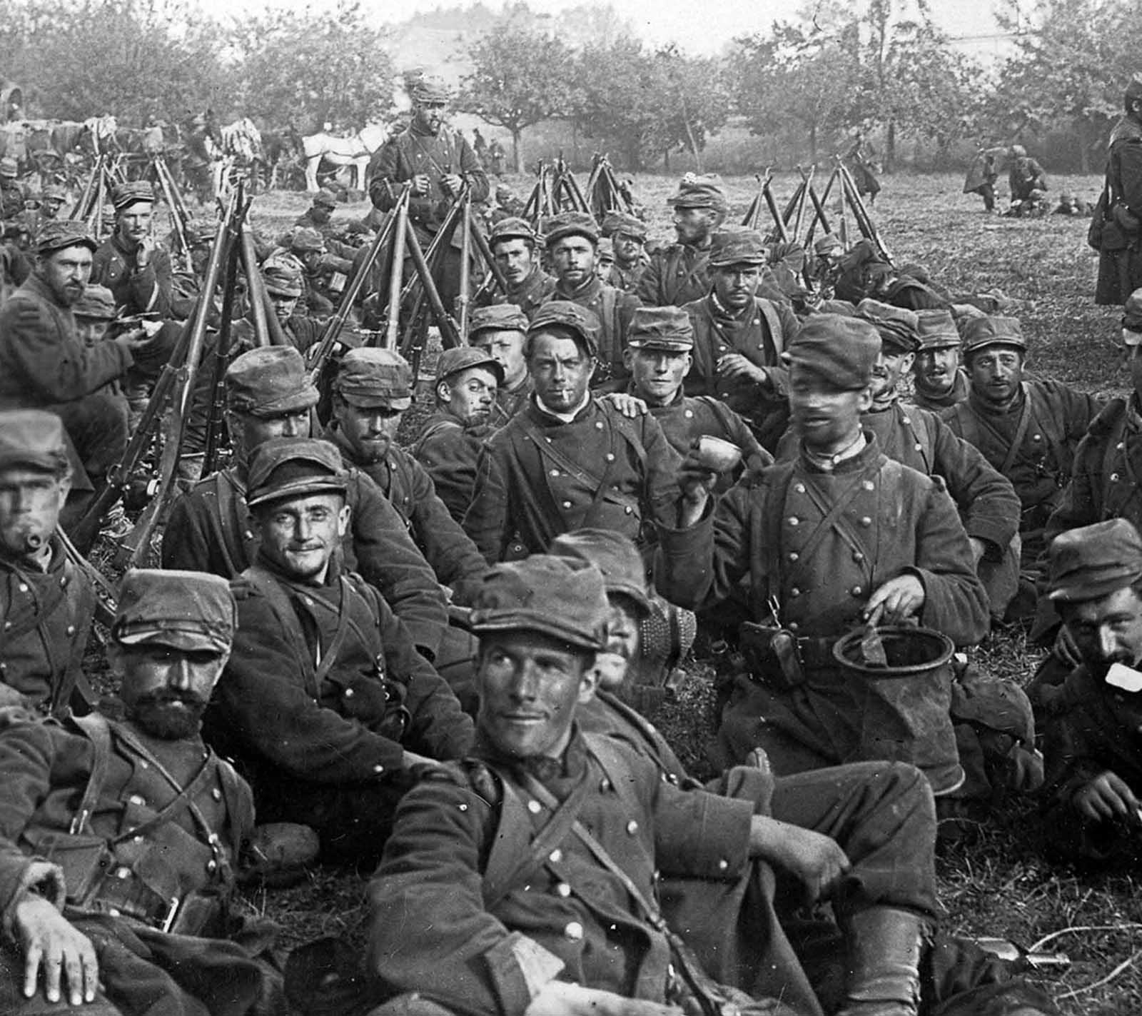 French Reserves from the USA, some of the two million fighters in the Battle of the Marne, fought in September of 1914. The First Battle of the Marne was a decisive week-long battle that halted the initial German advance into France, short of Paris, and led to the