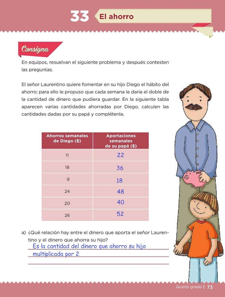 El ahorroDesafíos MatemáticosQuinto gradoContestado página 73