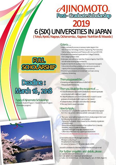 Beasiswa S2 - Ajinomoto Post-Graduate Scholarship 2019 6 (SIX) Universities in Japan