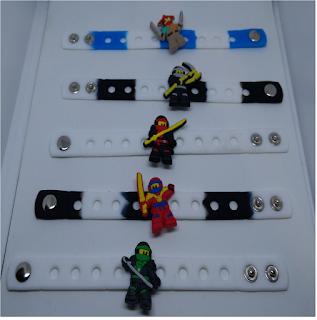 bracciali braccialetti 3D silicone personalizzati personaggi Lego Ninjago gadgets fine festa di compleanno bambini a tema