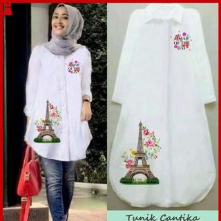 Bj150 Model Baju Tunik Busana Muslim Warna Putih Cantika www.bajumurahgrosiran.com kode 1350