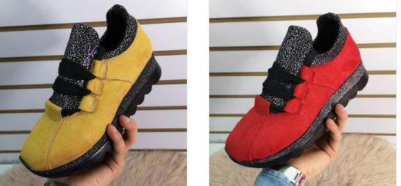 Adidasi dama moderni rosii, galbeni din piele co intoarsa cu talpa groasa model 2019