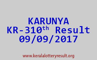 KARUNYA Lottery KR 310 Results 9-9-2017