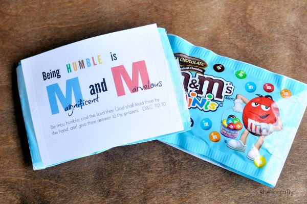 Girls Camp Handout Ideas with free printables - Humble, M & M's
