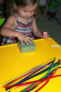 chenille stems and foam block preschool rainbow