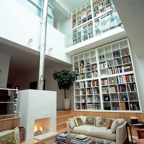Hogares frescos 37 ideas para la biblioteca de dise o con - Decorar un despacho en casa ...