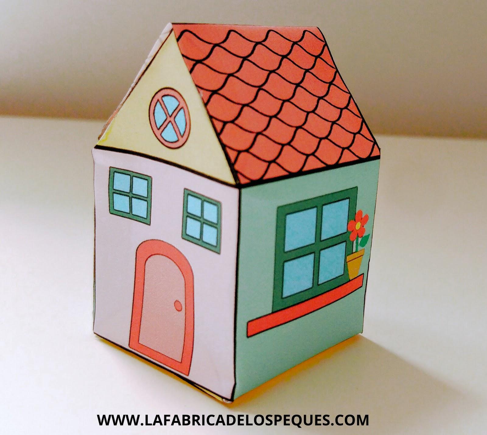 Manualidades infantiles casas imprimibles la f brica de for Puertas de material reciclado