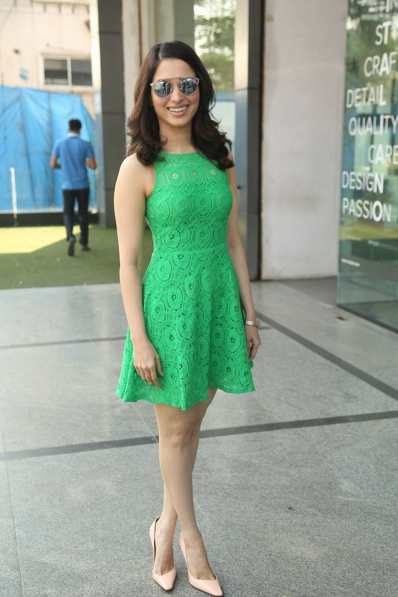 Actress Tamanna Pictures in Green Lace Dress during Oopiri Song Release at Radio City  0012.jpg