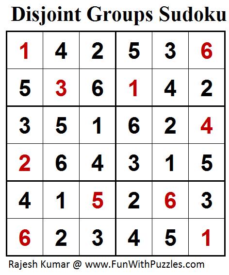 Disjoint Groups Sudoku (Mini Sudoku Series #84) Solution