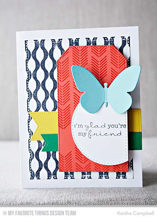 Butterfly Friend Card by Keisha Campbell featuring the Lisa Johnson Designs Delicate Pretty Poppies stamp set, the Arrow Ends Background Builder and Winter Waves Background stamps, and the Flutter of Butterflies Solid, Pierced Fishtail Flags STAX, Stitched Arch STAX, Pierced Traditional Tag STAX, and Blueprints 20 Die-namics #mftstamps