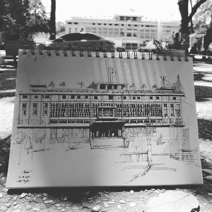 Ký họa phong cảnh ở Dinh độc lập - nhóm SV Zest Art