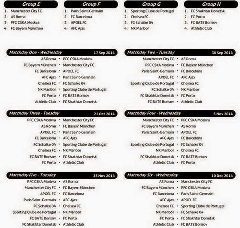 Champions League Calendario Completo.Champions League 2014 2015