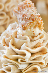 close up of ruffled cinnamon frosting