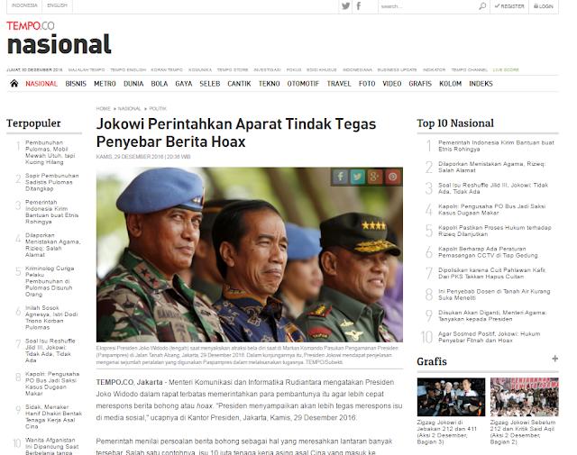 Eit... Media Pro Ahok Ini Ketahuan Sebarkan Hoax (Berita Bohong). Akankah Ditindak Tegas oleh Jokowi???