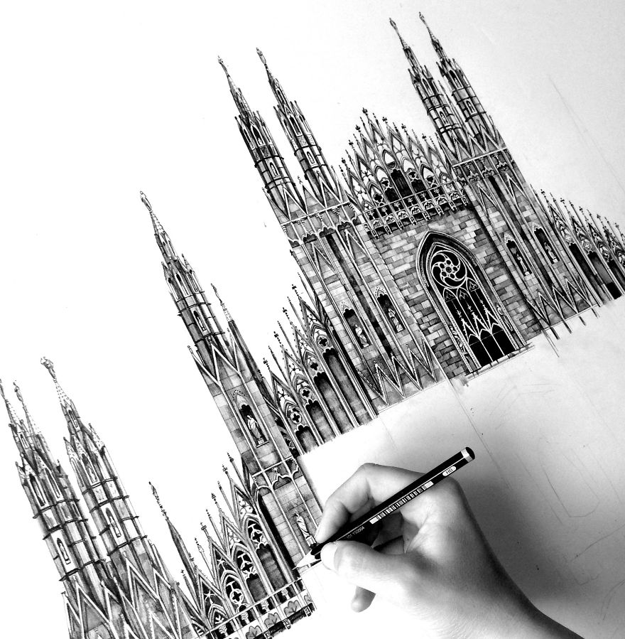 09-Il-Duomo-Cathedral-Milan-Minty-Sainsbury-Architectural-Street-and-Building-Drawings-www-designstack-co