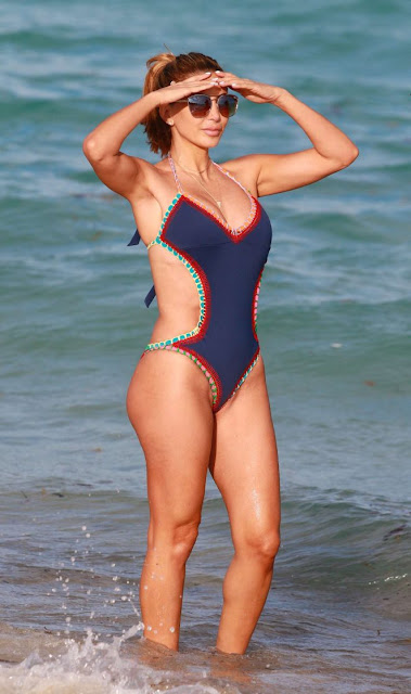 Larsa Pippen in Blue Swimsuit at the beach in Miami