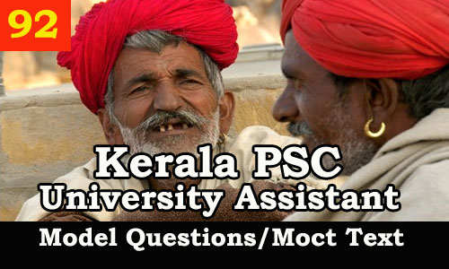 Kerala PSC Model Questions for University Assistant Exam - 92