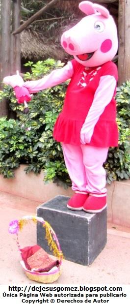 Foto de Peppa Pig parada enseñando a su peppita