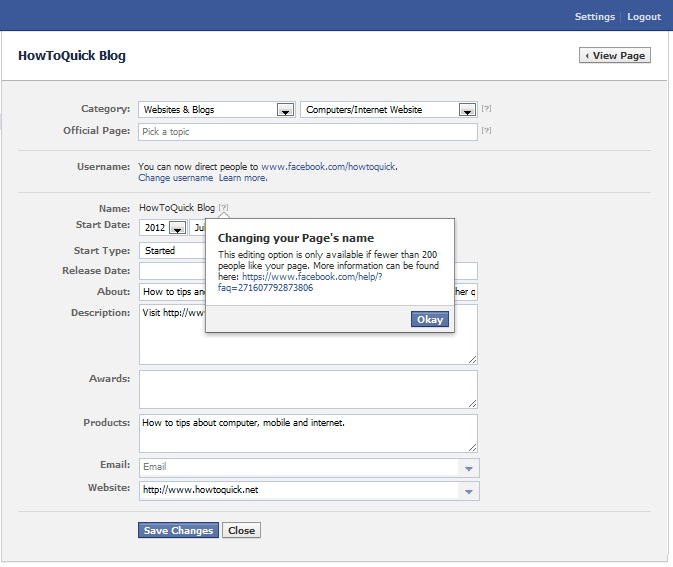 Change of Facebook Fan Page Name Options