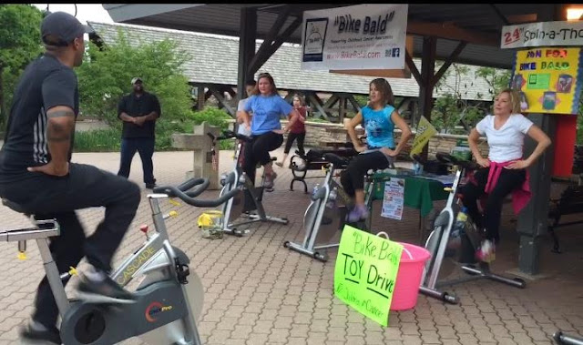 Bike Bald Spin-a-Thon on Naperville Riverwalk brings awareness to childhood cancer.