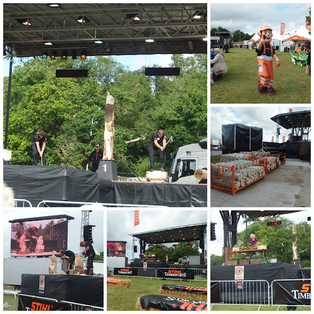 A collage of views from the Stihl Timbersports area