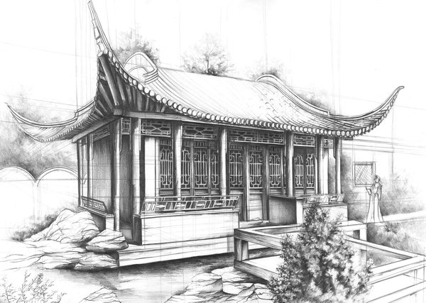13-Chinese-House-Marlena-Kostrzewska-Interior-Design-and-Architecture-in-Pencil-Drawings-www-designstack-co