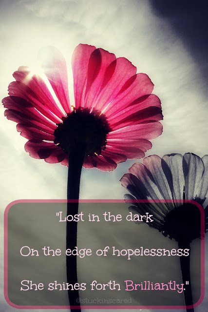 Lost in the dark, on the edge of hopelessness... she shines forth brilliantly... Quote. Poetry. #mentalhealth #mentalillness. #grief.