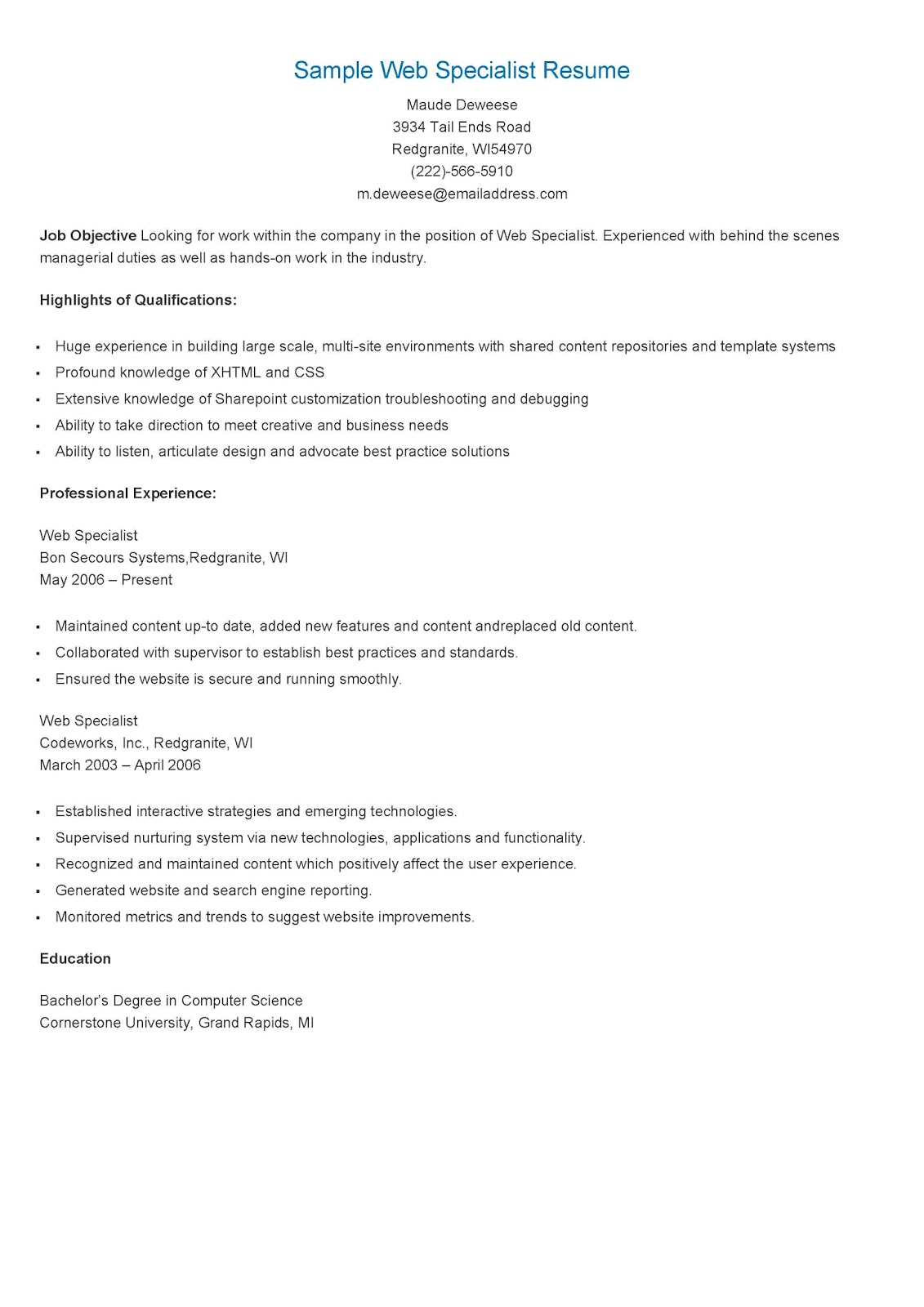Learning And Development Specialist Resume | Talent Acquisition ...