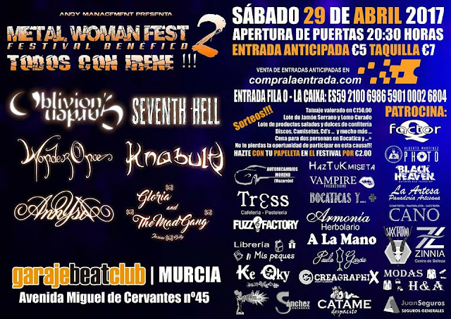 cartel metal woman 2, mucia, garaje beat club