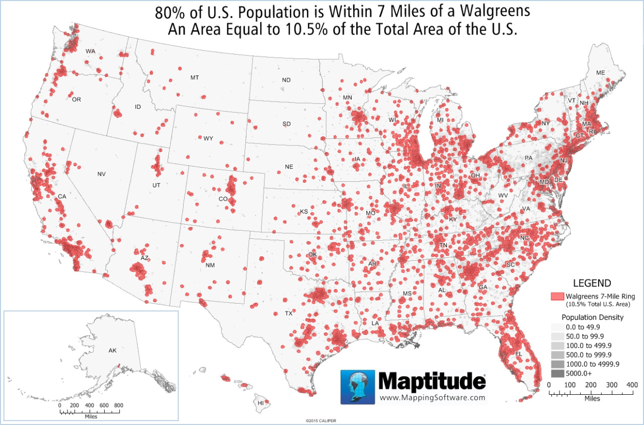 90% of  US population is within 7 miles of a Walgreens an area equal to 19.5% of the total area of the US