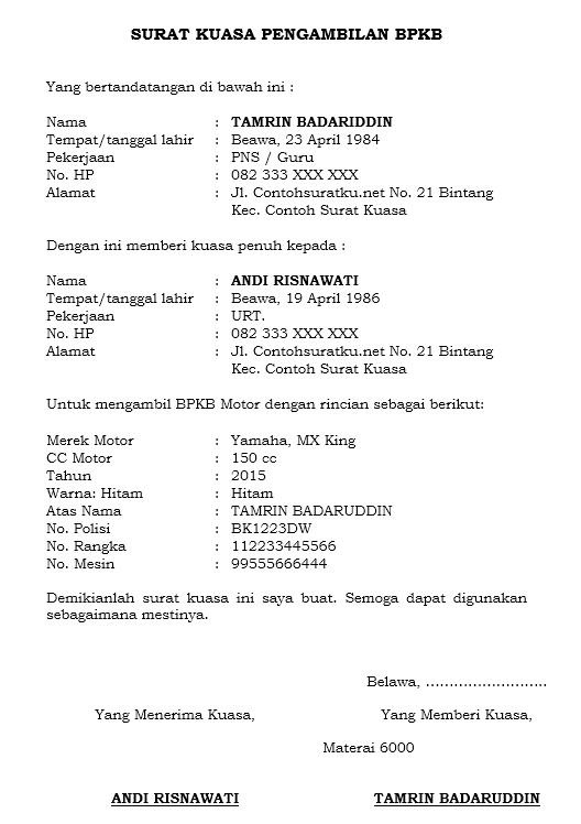Contoh Surat Kuasa Untuk Pengambilan Bpkb Kendaraan