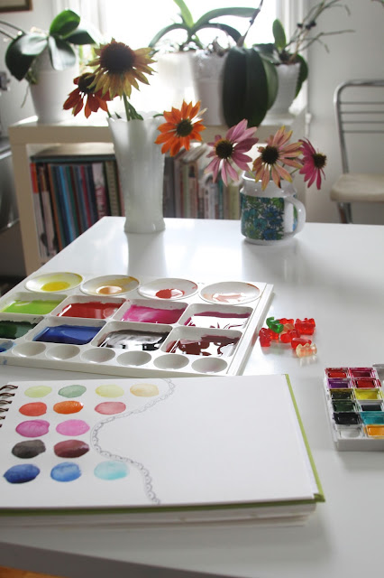 studio, watercolor, paint, paint palette, coneflowers, echinacea, sketchbook, Anne Butera, My Giant Strawberry