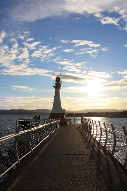 Sunset at the lighthouse near the cruise dock in Victoria.