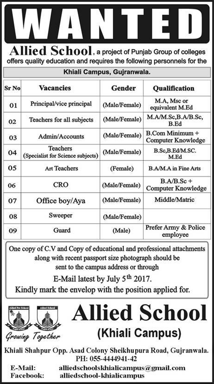 Principal, Teacher, Admin Officer, Office Boy Jobs In Allied school Gujranwala 13 June 2017